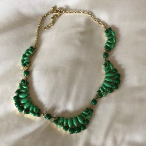 Jcrew stems to necklace gold with green stones